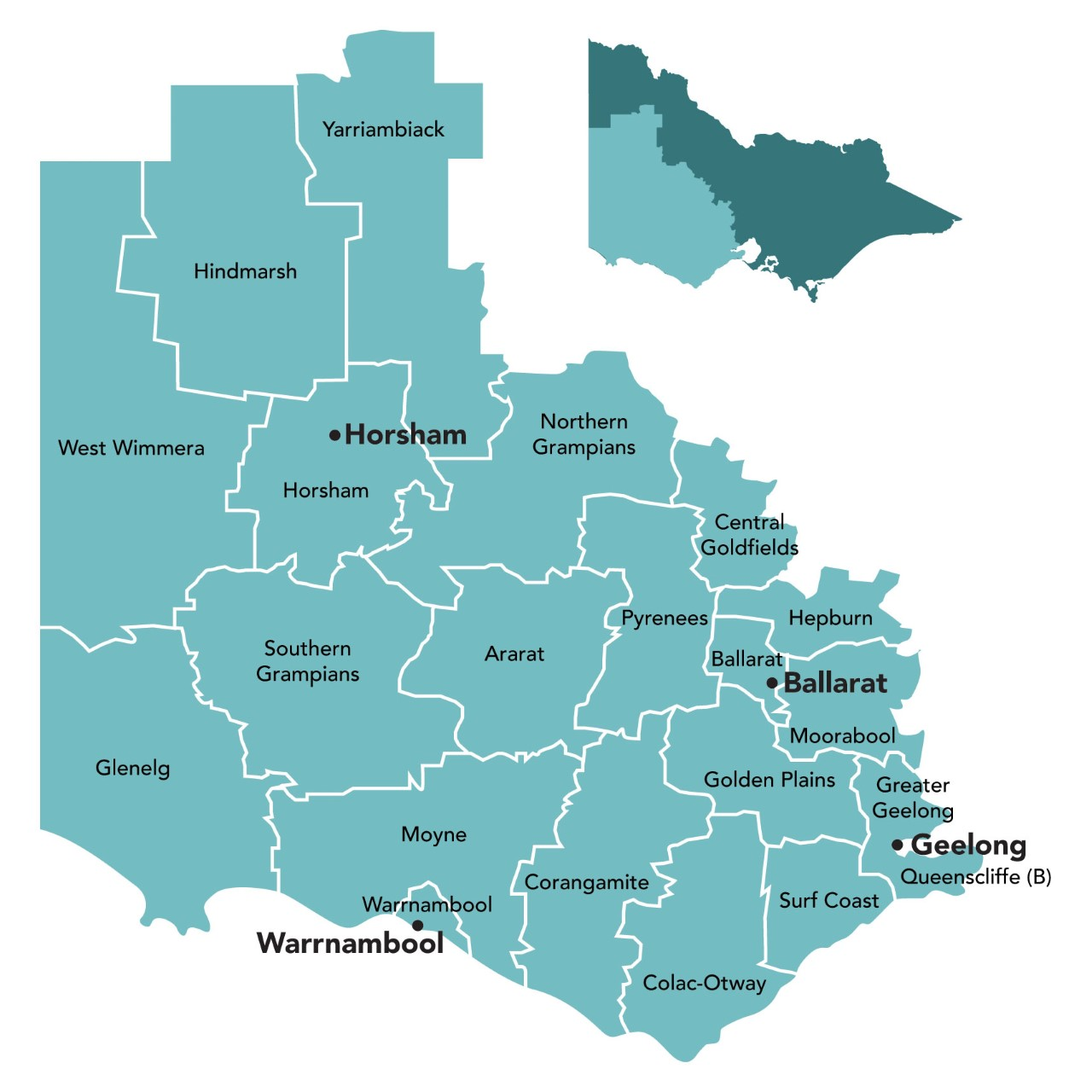 map of the Western Victoria PHN region
