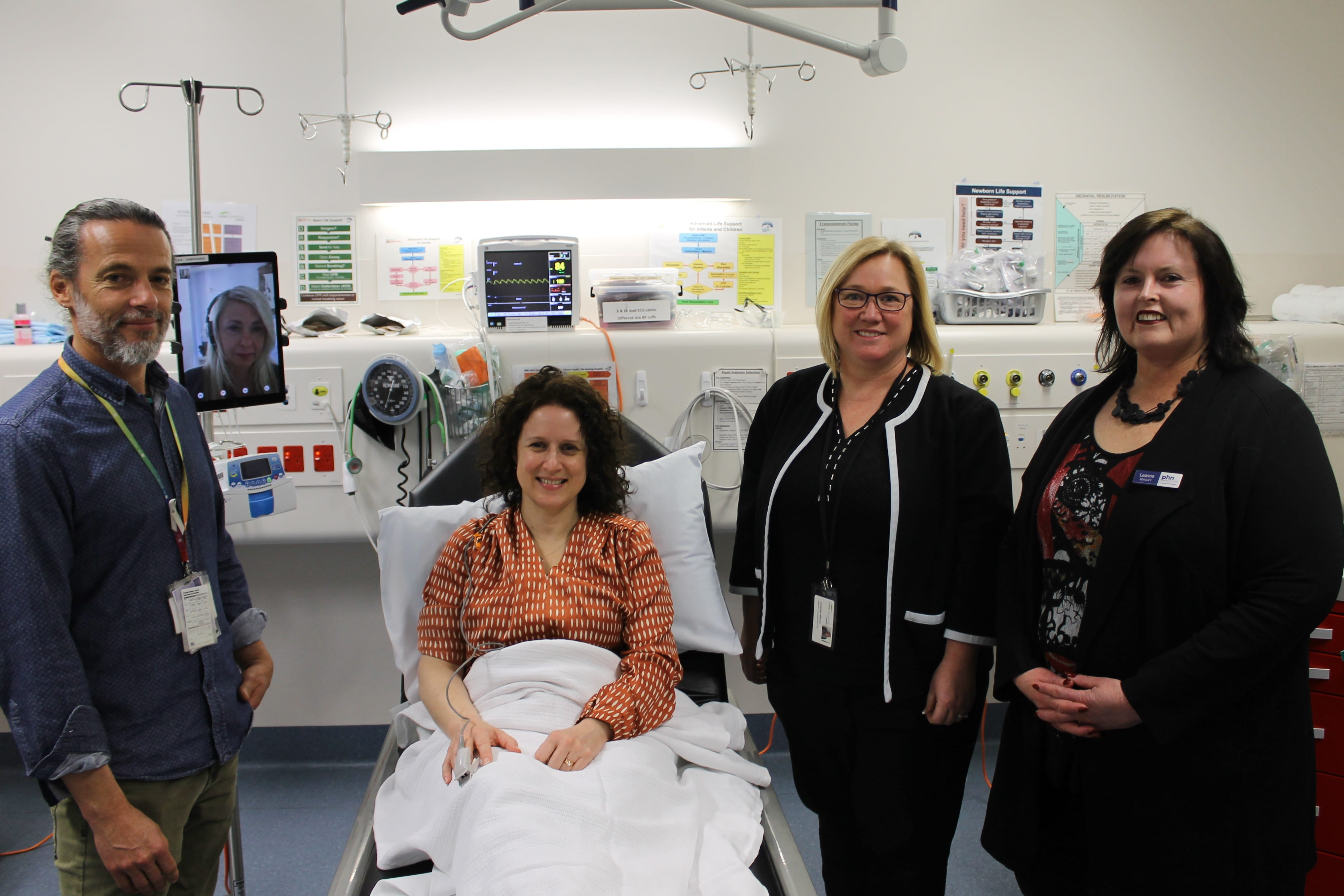 Acute Nurse Unit Manager, Jason Phieler, Great Ocean Road Health Acting CEO, Carissa Brock and Western Victoria PHN CEO, Dr Leanne Beagley, at the Lorne Community Hospital Urgent Care Centre launching an After Hours Telehealth Pilot.