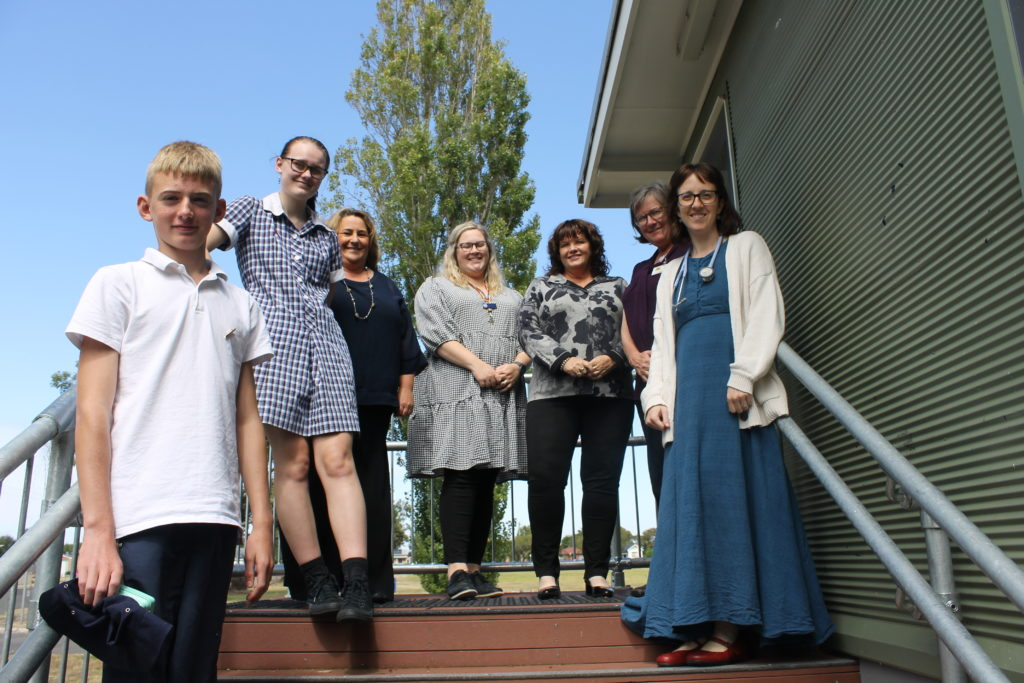 Photo: Heywood and District Secondary College students Jacob Sanderson and Alice Pumpa, Western Victoria Primary Health Network Chief Executive Officer Rowena Clift, College principal Kelly Webster and wellbeing leader Tiana Richardson, practice nurse Cathy Radford and GP Debbie Carrington.